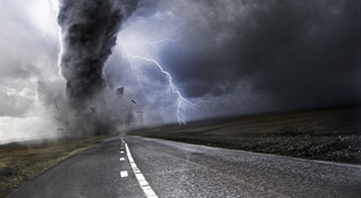 lightning storm on road